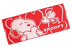 スヌーピーふんわり赤いタオル